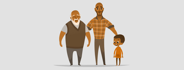 African-American grandfather, son, and grandson looking happy