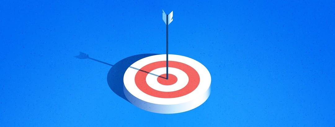 Arrow in bulls eye target