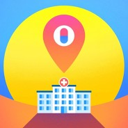 hospital with a location pin over top with sunset in background