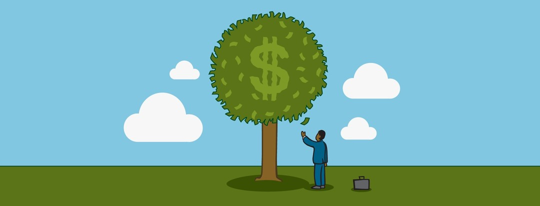 Man standing under a tree of money waiting for a bill to fall
