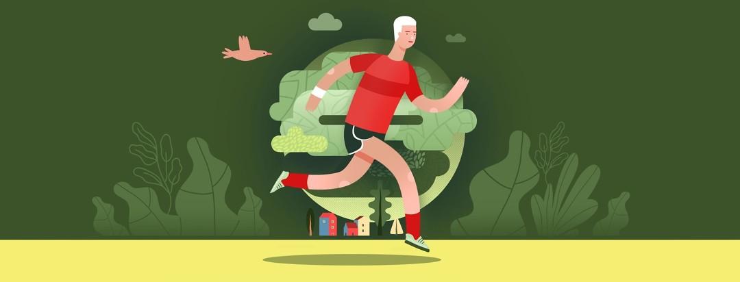 Man running preparing himself for cancer treatment