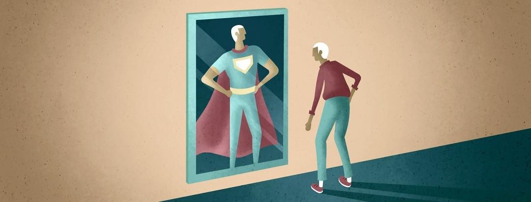 Old man looking into mirror seeing himself as a superhero