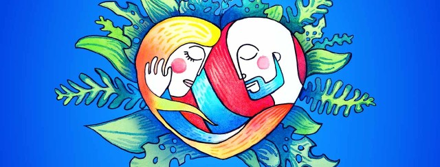 Man and woman lovingly holding one another