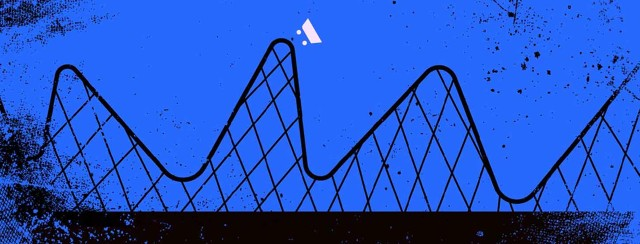 Scary rollercoaster ride with many ups and downs