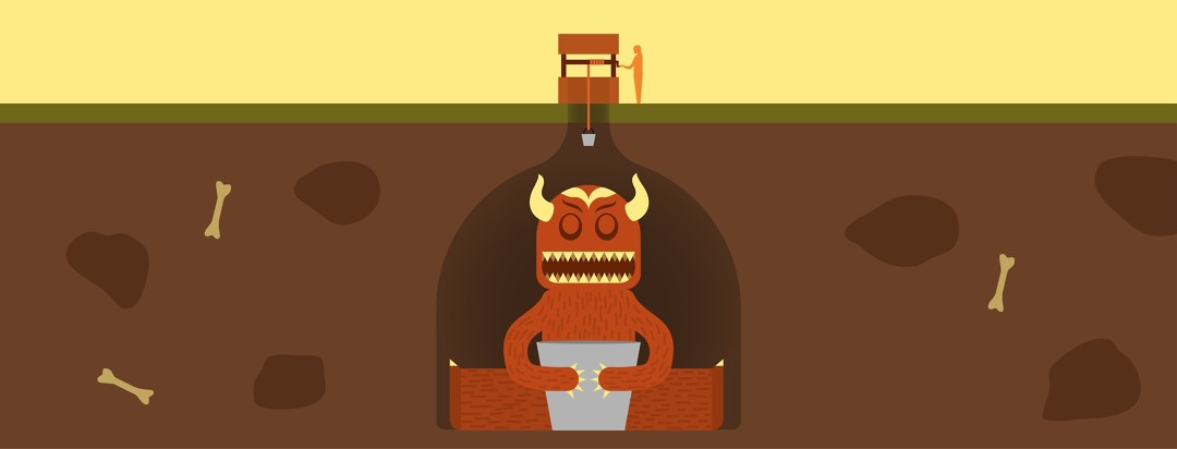 Man lowering a bucket into a deep well, while a monster lurks below the ground