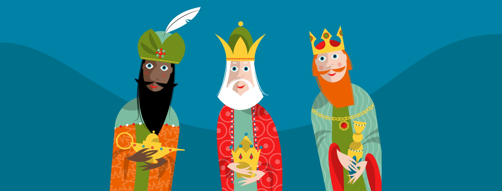 three wise men holding gifts suspiciously