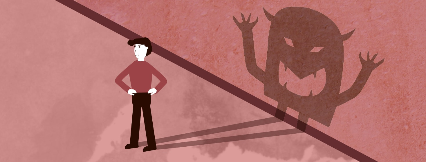 Confident man with scary monster shadow