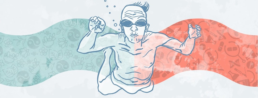 a swimming older man is in front of a wave showing naturopathic icons on the left and western medicine icons on the right