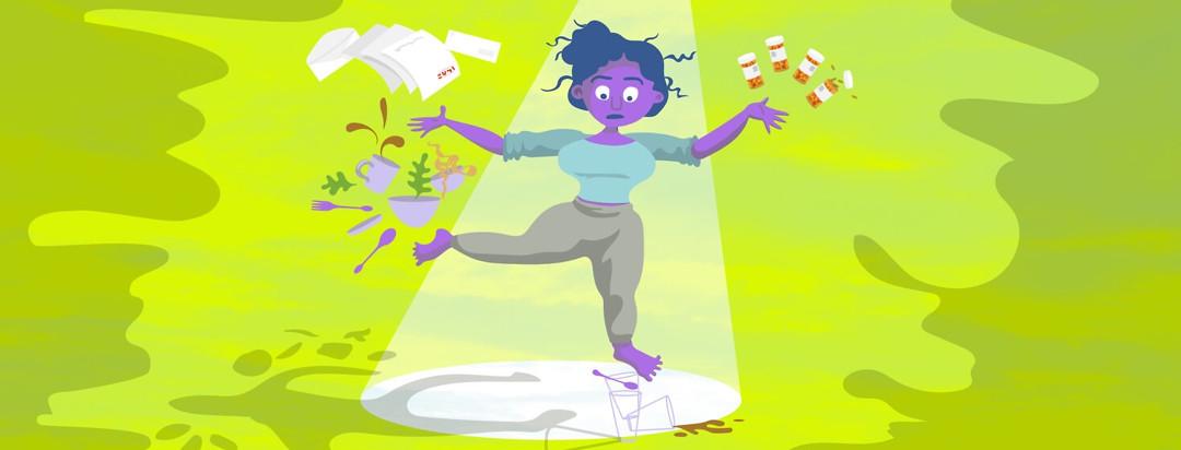 a woman juggles dishes, bills and prescription medicines