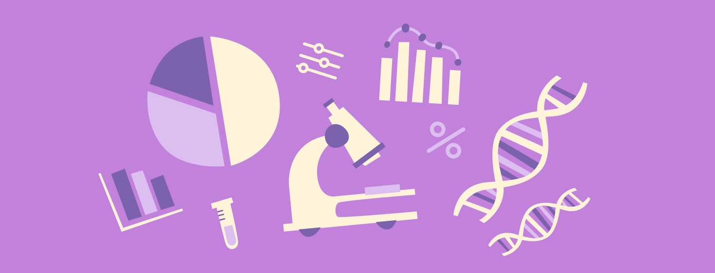 A microscope, bar graph, pie graph, and DNA strands in a collage on a purple background.