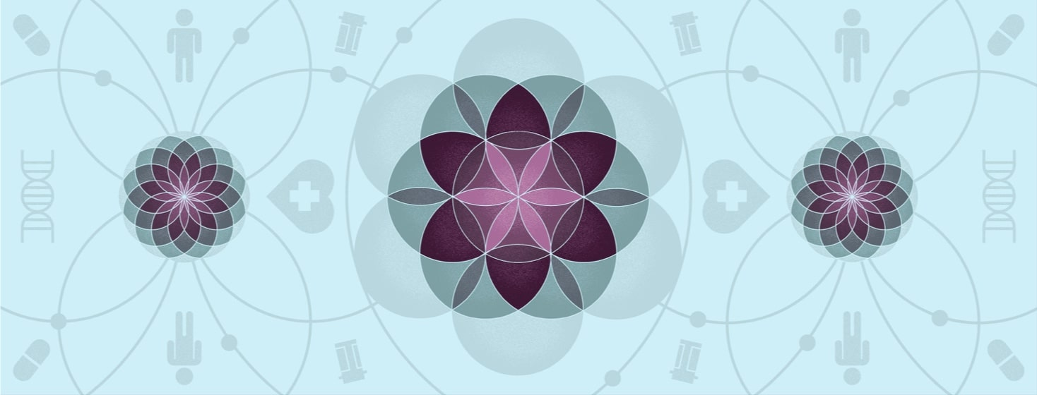 the flower of life pattern is interspersed with medical devices