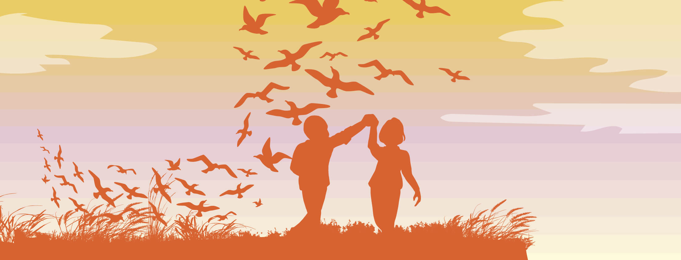 a man and woman dance on the edge of a cliff, surrounded by soaring birds