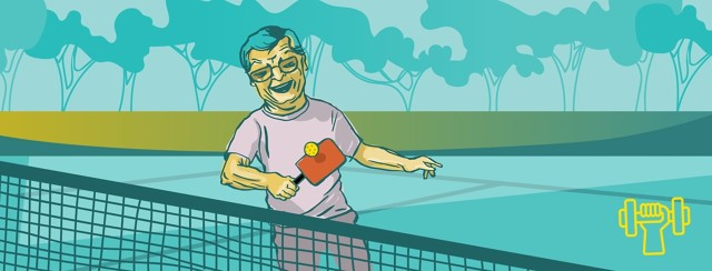 a man enjoys playing pickleball