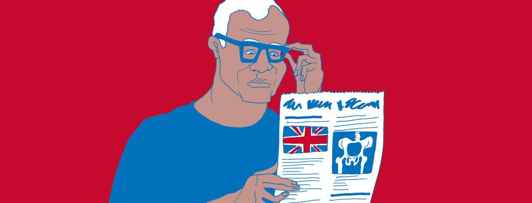 A man reads a British newspaper with interest