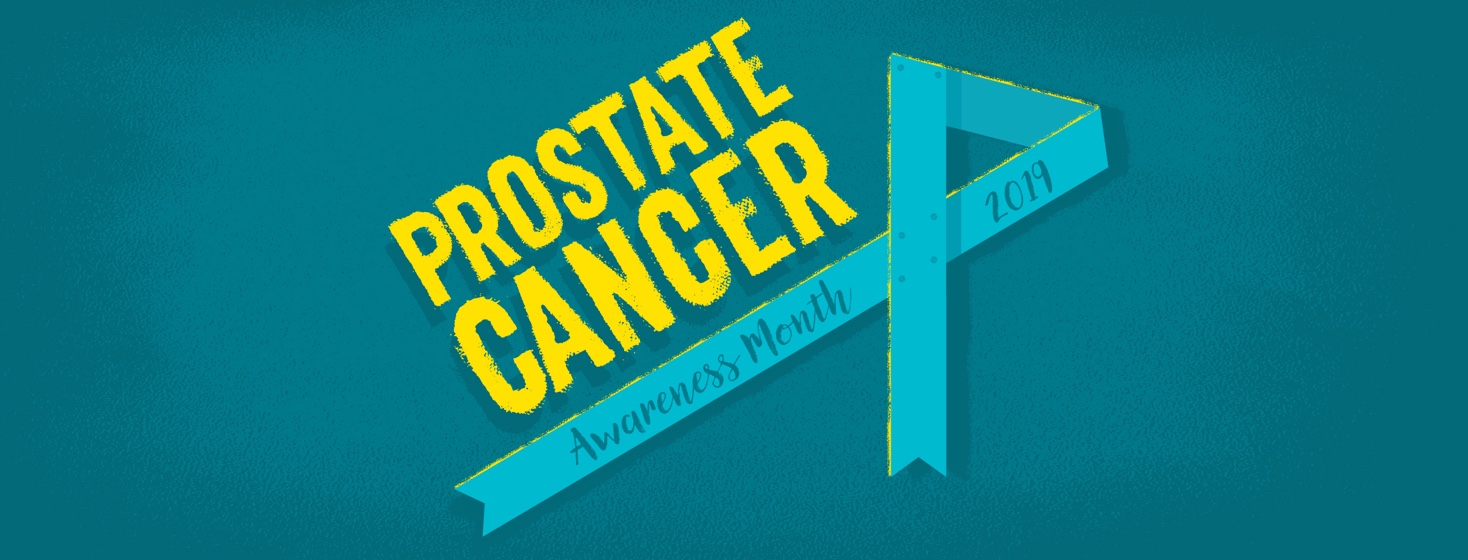 a geometric blue ribbon under the words prostate cancer awareness month