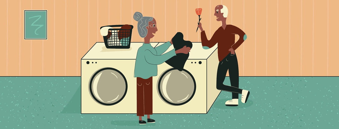 woman doing laundry and a man giving her a rose