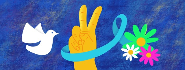 a dove, and a hand making the peace sign wrapped in a blue awareness ribbon and flowers