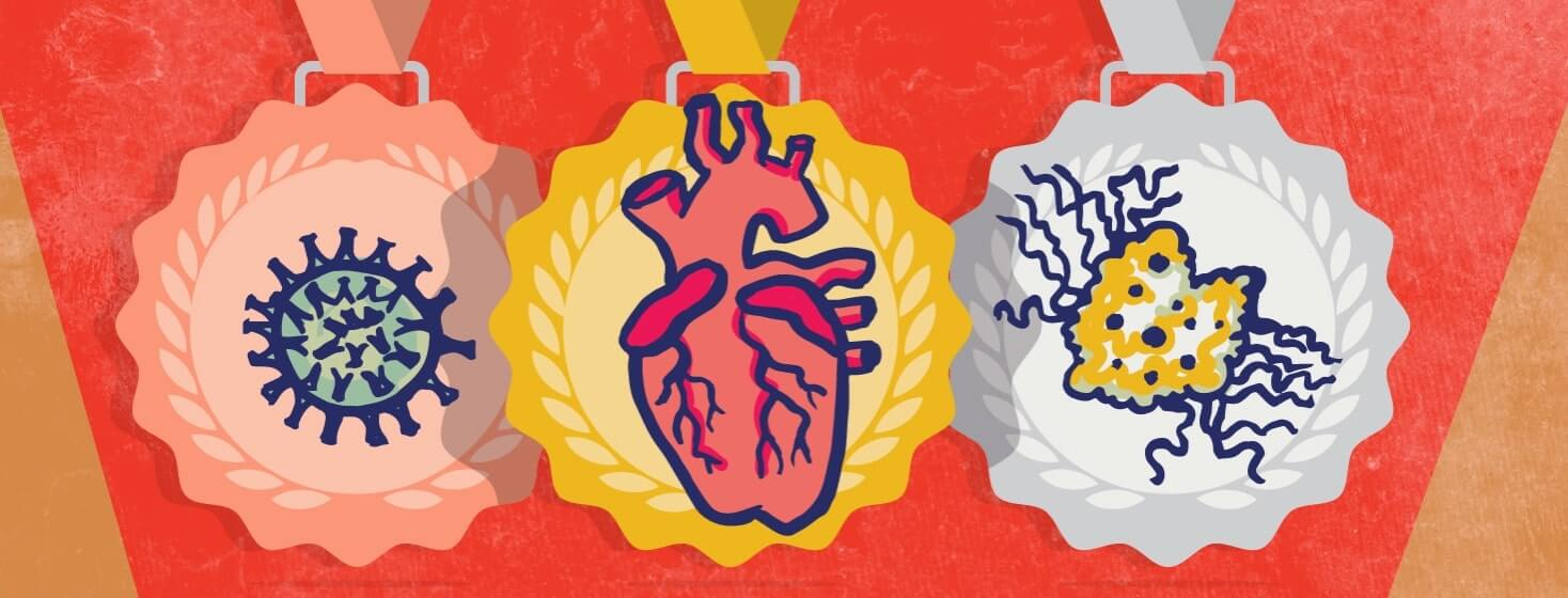 Three medals with a virus, a heart, and a cancer cell