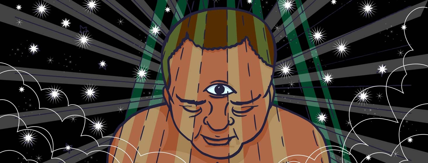 a man stands in the shower and his third eye opens to see the universe