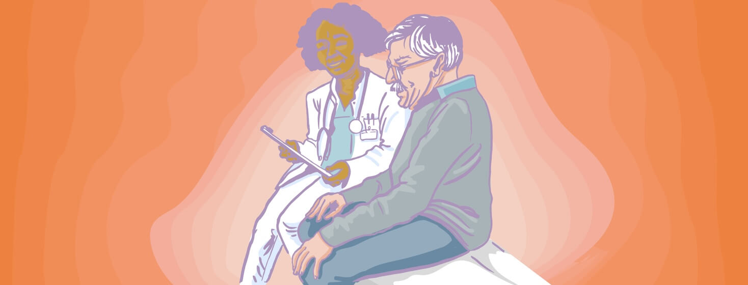 a female doctor explains a diagnosis to an older man