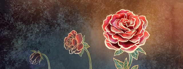 A rose is depicted in three stages from grayed-out bud to colorful full bloom, representing the regaining of libido after the side effects of medical procedures.