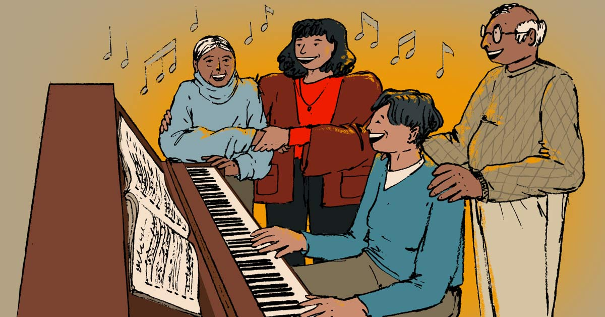 family singing together at piano