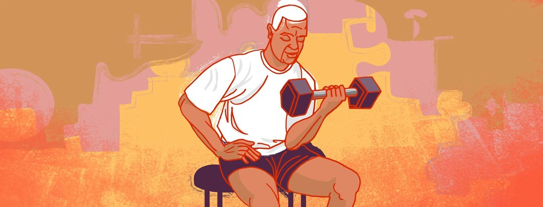 an older man using weights to do bicep curls