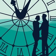 a couple standing in front of a giant glass clock that shows a landscape behind it.