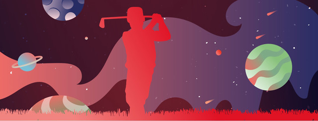 a man golfing in front of a space landscape