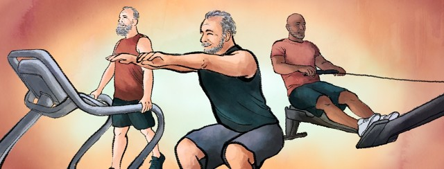 A man goes through Kegel exercises as part of his daily exercise routine, while two men use a treadmill and rowing machine behind him.