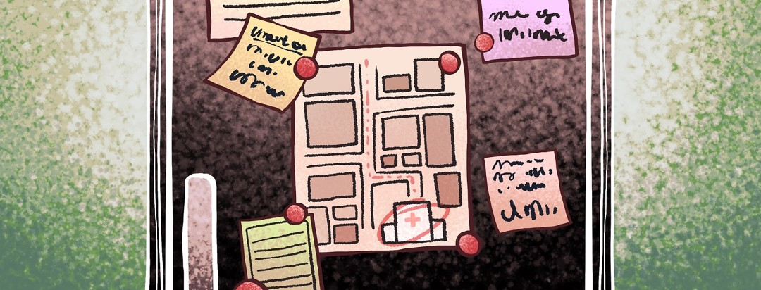 An assortment of papers, post-it notes, and a marked map to the hospital are pinned with magnets on a fridge as part of a plan of action in case of a medical emergency.