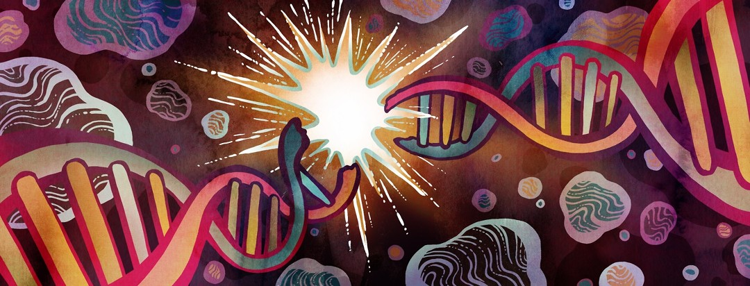 A colorful chain of DNA is broken by a bright spark of light in the center, as blobs representing proteins inside the cell float around in the darkness.