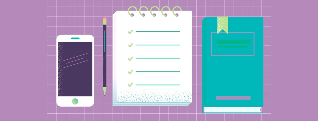 A phone, notebook and journal are important tools in being an active participant in one's treatment journey.