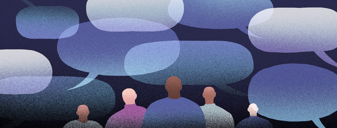 A group of men stand together, while overlapping speech bubbles surround them.