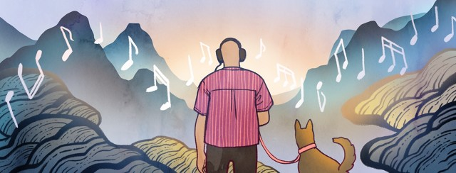 A man with headphones stands with his dog, surrounded by trees and mountains as music notes float across the landscape.