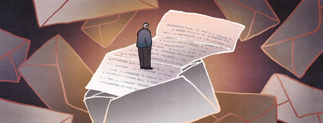 Surrounded by a storm of letters, a man stands on an open letter as he reads its contents.
