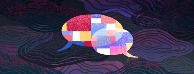 Among a chaotic background, two overlapping speech bubbles are overlaid with a brightly colored and orderly pattern.