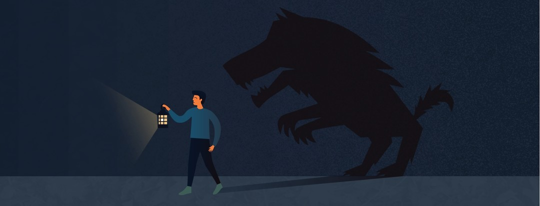 Man holding up a lantern walking in the dark with shadow of a monster, big bad wolf, trailing behind him.