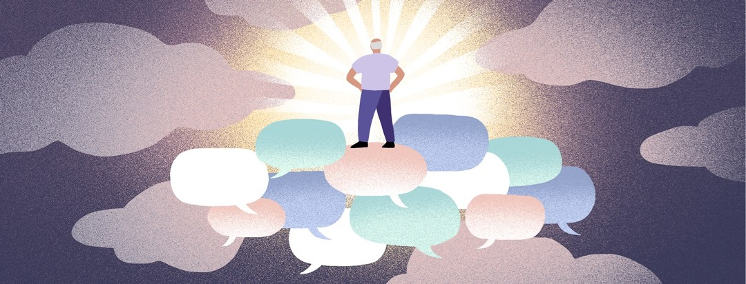 A man stands on top of a collection of speech bubbles floating in the clouds.