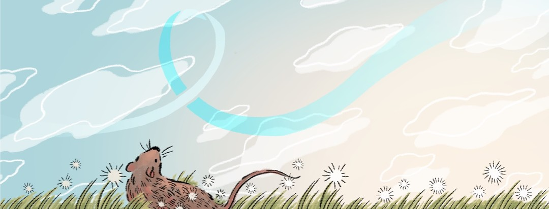 A mouse looks up from the field towards a blue sky with clouds, with a faint awareness ribbon motif in the background.