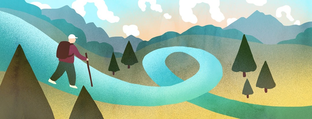 A man walks along a ribbon-shaped path in the mountains as question mark-shaped clouds float in the sky.