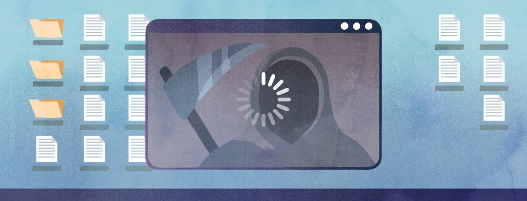 In front of a desktop background, a Zoom call loading screen shows the silhouette of the grim reaper.
