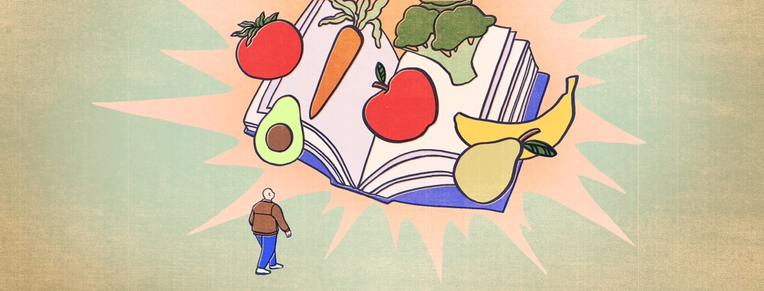 A man walks towards a giant book with healthy fruits and vegetables that represent healthy living.