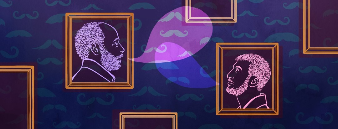 Two men with mustaches and beards communicate with each other from their portrait frames on a wall.