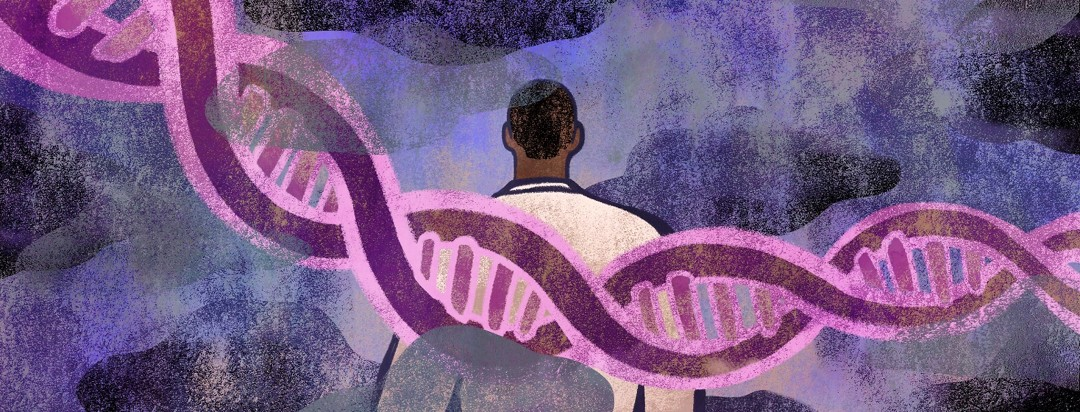 A man is overshadowed by a strand of DNA among dark clouds.