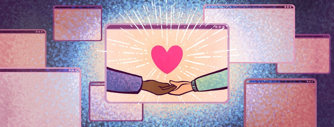 Among a multitude of webpages, a central page shows two people's outstretched hands with a glowing heart between them.