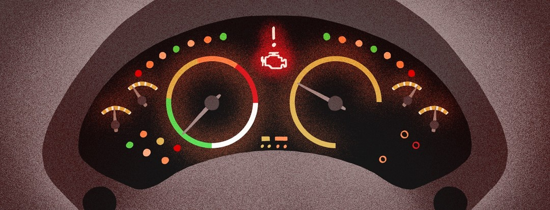On a car's dashboard, a check engine light flashes red to alert the driver.