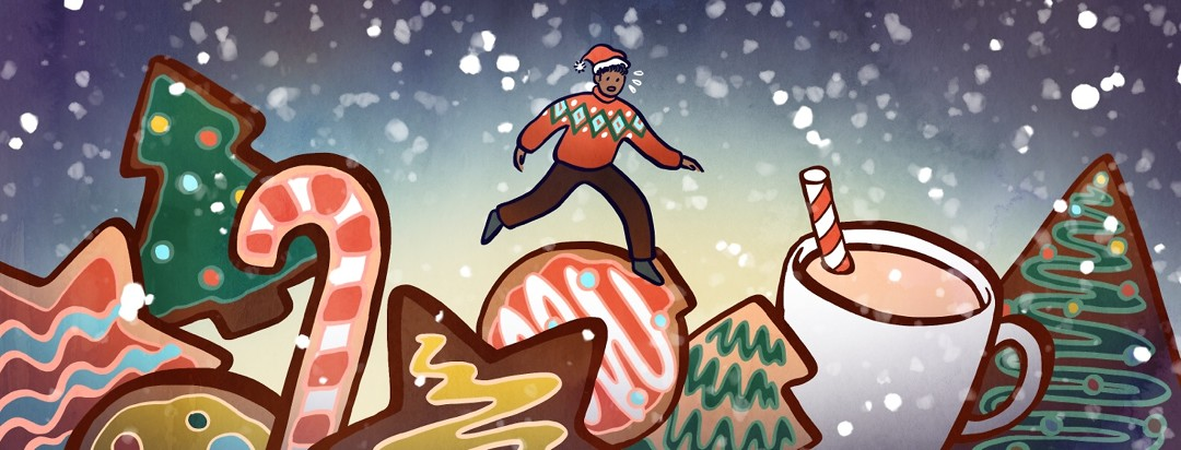 A man walks a wobbly path over giant cookies and other holiday treats.