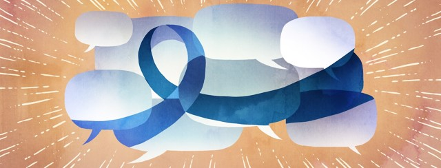 A collection of speech bubbles come together and form a giant awareness ribbon.
