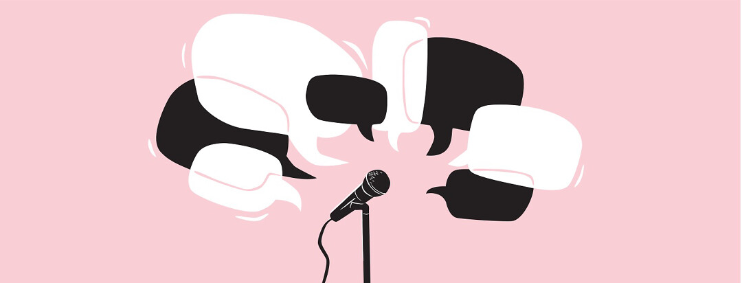 A cloud of speech bubbles spreading out from a microphone on a stand.